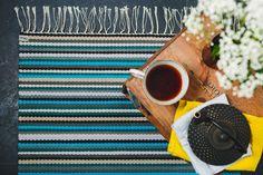 Turkoosiraitainen Kehrääjä-matto Weaving, Tableware, Diy, Crafts, Product Photography, Design, Dinnerware, Manualidades, Bricolage