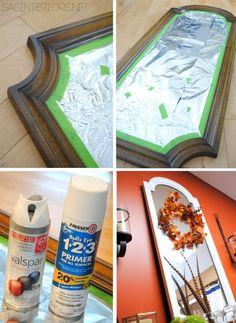 Fall Mantel with Feathers - Jenna Burger Design LLC Spray Paint Mirror, White Spray Paint, Mirror Painting, Painting Frames, Spray Painting, Painting Tricks, Mirror Makeover, Diy Mirror, Mirror Ideas