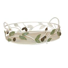 Attractive metal basket with olive design