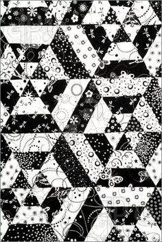 Picture of Homemade quilt in black and white pattern