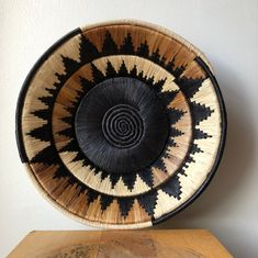 Wall Hanging Natural and Black Colored African Bukedo Basket Medium 10 Inches or Large 14 Inches Pillow Embroidery, Apartment Decorating On A Budget, Pine Needle Baskets, Baskets On Wall, Woven Baskets, Southwestern Decorating, Pillow Fabric, Plate Design, Basket Decoration