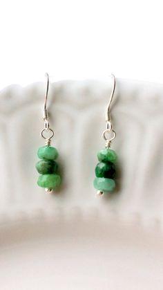 Sterling Silver Emerald Earrings Emerald by SundarAndFrouFrou