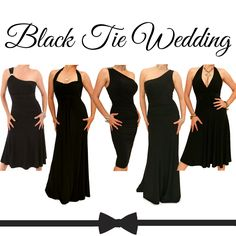 BLACK TIE WEDDING!  If you're adding a touch of sophistication to your wedding day with a black tie theme our collection of black bridesmaids dresses will compliment both bride and groom perfectly  https://www.justblue.com/bridesmaid-dresses.php