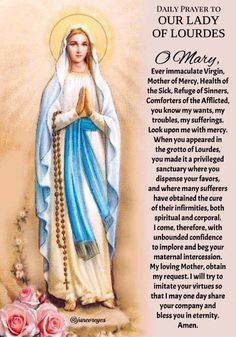 Daily prayer to our lady of lourdes Mary Jesus Mother, Blessed Mother Mary, Blessed Virgin Mary, Catholic Religion, Rosary Catholic, Catholic Prayers, Prayer Scriptures, Bible Prayers, Fatima Prayer