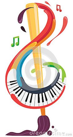 Illustration about A colorful image that represents art and music, a treble clef made by a painted brush and a piano. Illustration of piano, paint, colorful - 64896665 Music Painting, Music Artwork, Art Music, Art Classroom Decor, Music Classroom, Eyes Wallpaper, Music Wallpaper, Mural Wall Art, Music For Kids