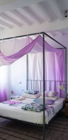 An extraordinarily beautiful, hand-dyed, wide-width linen, shaded across the full width from vibrant colour to vanishing white. linen with a tumbled f Beautiful Space, Linen Bedroom, Sanctuary Bedroom, Summer Bedroom, Home Decor, Purple Love, Bed, Designers Guild, Fabric Design