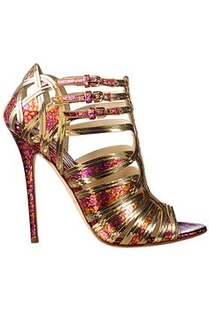 Brian Atwood Metallic pink orange & gold sandals  Inspiração #fashion #moda #dechelles https://www.facebook.com/dechellesfanpage