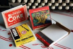 FOUR Vintage Matchbook Notepads  4 pack  made to by somavenus, $10.00