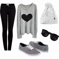 Grey pretty teen winter outfit | Fashion World