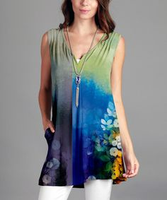 Another great find on #zulily! Blue & Green Floral Notch Neck Tunic - Plus #zulilyfinds