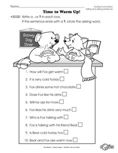 To complete this language arts worksheet students must decide if a sentence tells or asks before adding ending punctuation. Language Arts Worksheets, Snowy Day, Punctuation, Mailbox, English Language, Lesson Plans, Sentences, Literacy, Students