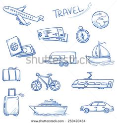 Icon set travel holidays, vacation with plane, car, train, bike, ship, compass…
