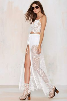 Kiss Them For Me Lace Tie Skirt - White | Shop Clothes at Nasty Gal!