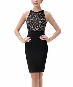 Black Lace-Overlay Halter Dress