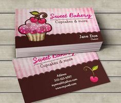 Cherry Berry Cupcake Business Cards. This cute business card design is available for customization.