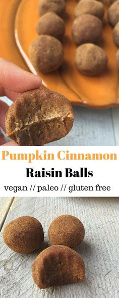 Pumpkin Cinnamon Raisin Balls - classic fall flavors make their way into these vegan, paleo, and gluten free balls, a perfect snack or energy pick-me-up - Eat the Gains  https://www.pinterest.com/pin/451556300130058973/