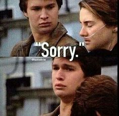 """Sorry"". The Fault In Our Stars. Augustus and Hazel.  The feels!!!"