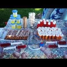Medical Graduation Party. Urine jello shots, Amoxicilin Shots, Thermometers, syringe jello shots, candy pills & cotton balls.