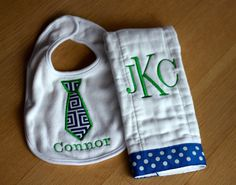 Personalized Monogram Embroidered Burp Cloth and by TheSweetBird