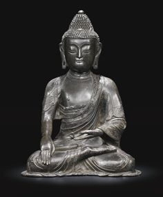 A large bronze figure of Buddha, Late Ming dynasty