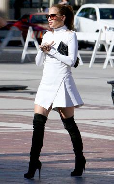 "Jennifer Lopez in Christian Louboutin Thigh High Boots.<---- I need to create this outfit on a ""Look for Less"" budget! Already have the boots! New York Fashion, Teen Fashion, Runway Fashion, Fashion Models, Womens Fashion, Fashion Trends, Latest Fashion, Celebrity Boots, Celebrity Style"