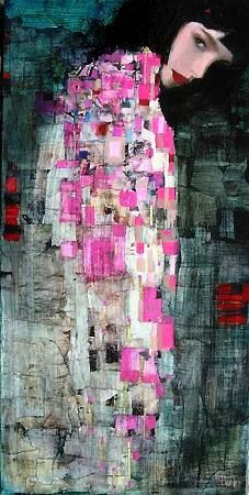 """Richard Burlet born in France in 1957. Considered an abstract-figurative artist, Richard Burlet's paintings are born of an inspiration that is French by inclination and Viennese by influence, paying homage to a tradition in art that reigned in Vienna in the late 1800s. Art, architecture and design of the """"Golden Age"""" of Vienna, and the works of Gustav Klimt, are the major influences in his works."""