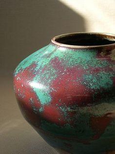 Jugtown Pottery Chinese Blue Vase North Carolina Estimated age 1930's  Chinese blue glaze developed by Ben Owen