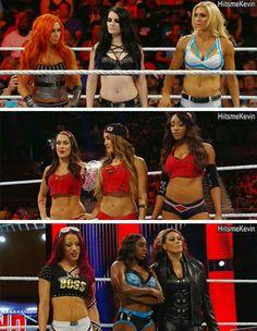 Becky Lynch Paige Charlotte Alicia Fox Brie & Nikki Bella Sasha Banks Naomi & Tamina Snuka TEAM BELLA TEAM NAOMI TEAM PAIGE!!!!!