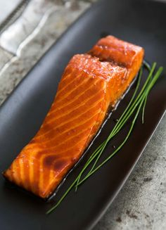 Sake Ginger Glazed Salmon ~ Sake ginger glazed salmon recipe, marinated in a Japanese yakitori sauce and fresh ginger. ~ SimplyRecipes.com