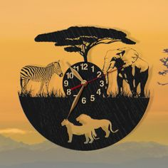The wooden clock is a unique gift for Wild Nature lovers :) - for yourself or your boyfriend or girlfriend, dad or mom, wife or husband. My African themed items: https://www.etsy.com/shop/PerAsperaAd?search_query=Africa The animals themed items: