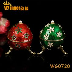 Surprise Gift Faberge Eggs Crystal Flower Figurine Jewelry Trinket Box Neon Color Easter Egg Magnet Metal Crafts
