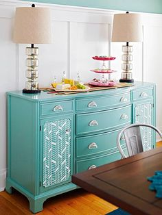 A little paint and pattern can transform your old furniture into something fabulous! More weekend home decorating projects: interior design design room design house design Diy Furniture Easy, Paint Furniture, Repurposed Furniture, Furniture Projects, Furniture Makeover, Home Projects, Antique Furniture, Modern Furniture, Chair Makeover