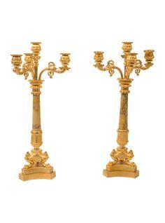 Pair of Italian Gilt Bronze and Giallo Di Siena Marble Candelabra | The HighBoy | blog.thehighboy.com