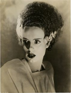 """Elsa Lanchester as the Monster's Mate, Screenshot from James Whale's """"The Bride of Frankenstein"""" 1935 Mary Shelley: It's a perfect night for mystery and horror. The air itself is filled with monsters. Retro Horror, Vintage Horror, Vintage Goth, Gothic Horror, Vintage Style, Classic Horror Movies, Horror Films, Horror Stories, Horror Icons"""