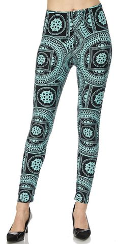 Mint Mandala Yummy Brushed Leggings One Size & Plus Size www.shopluxleggings.com comfy, classy & just a little bit sassy!