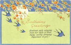 Saludos de cumpleaños golondrinas, sol, flores