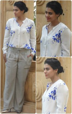 Kajol was seen in a smart attire for a photo shoot for a lifestyle magazine. She sported a white and blue shirt by Turquoise & Gold and paired it. Fashion 2017, Fashion News, Girl Fashion, Indian Bridal Wear, Indian Wear, Indian Designer Outfits, Indian Outfits, Smart Attire, Casual Attire