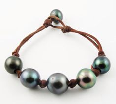 Tahitian Pearls and Leather bracelet by  wendymignot.com