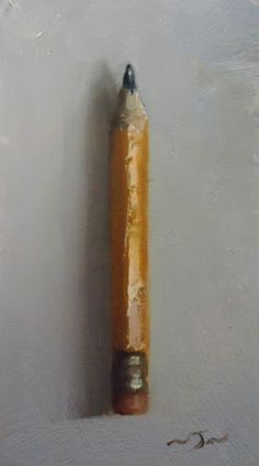 """Yellow Pencil"". This is a small, original oil painting by Neil Nelson"