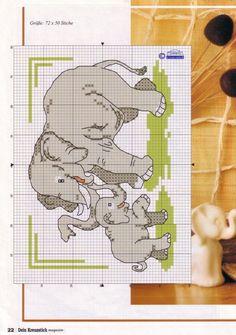 Elephant and Calf Elephant Cross Stitch, Cross Stitch Animals, Double Knitting Patterns, Cross Stitch Patterns, Cross Stitching, Cross Stitch Embroidery, C2c, Cute Stitch, Cross Stitch Landscape
