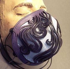 Playa dust mask in purple leather