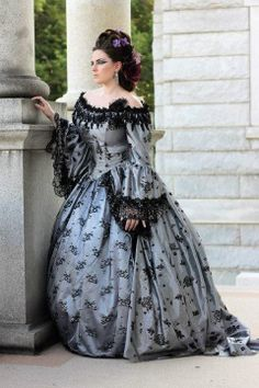 Valentina Gothic Romantic Off Shoulder Fantasy Gothic Victorian Gown Custom. $850.00, via Etsy.