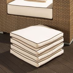 set of 4 large luxury outdoor garden dining chair cushion in cream ebay