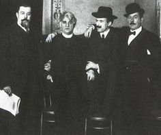 Giulio Gatti-Casazza, David Belasco, Arturo Toscanini and Giacomo Puccini