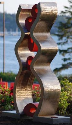 Stainless Steel / mild steel #sculpture by #sculptor Chris Rench titled: 'Caught Up (stainless Steel Modern abstract Coloured Yard/garden statue)'. #ChrisRench