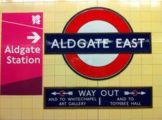 Aldgate East London Underground Station in Aldgate, Greater London London Underground Tube, London Underground Stations, London Transport, Public Transport, Tube Stations London, District Line, East London, Train Station, London England