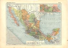 Vintage Map of Mexico 1910s 100 Years Old by CarambasVintage