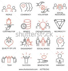 Vector set of 16 thin icons related to altruism, benevolence, human responsible…