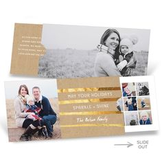 This premium Christmas card packs a surprise inside! Friends and family will love the photo on the front with the kraft paper and gold faux-foil greeting, not to mention the extra long photo on the back. But wait until they realize that these Christmas cards don't open. Instead, a panel inside slides out from the right side, holding 17 more photos and highlights of your year! #premiumCards #holidayCards #christmasCards