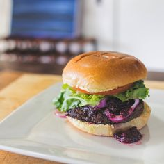 Black Bear Burger with Blue Berry BBQ Sauce